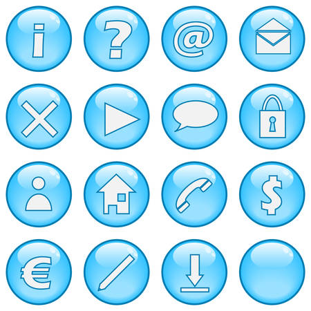 A collection of glossy blue sphere icons. Part 1 Stock Vector - 3446099