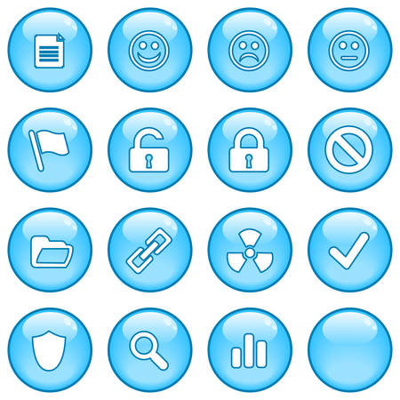 A collection of glossy blue sphere icons. Part 2 Stock Vector - 3446100
