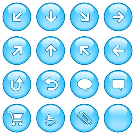 A collection of glossy blue sphere icons. Part 3 Vector