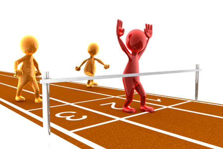 Picture of a finish line with a red character winning the race. Concept of winning, achievement, reaching a goal,...