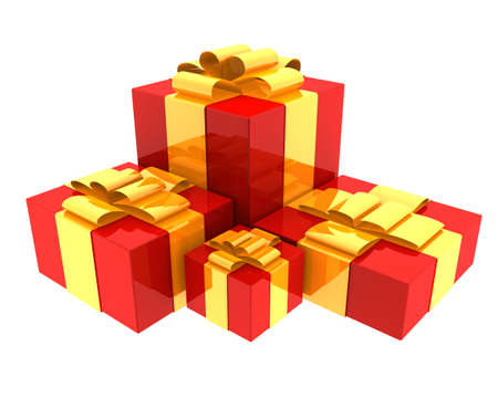 Four nicely wrapped gift boxes. photo