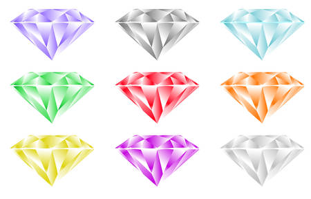 Differently colored diamonds on white background. Illustration