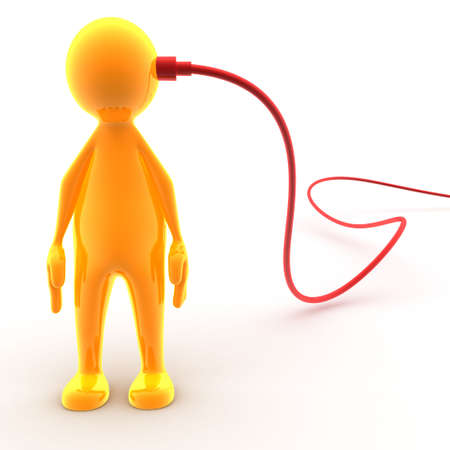 Character has a cable connected to his head. Concept of networking, connecting, internet,... photo