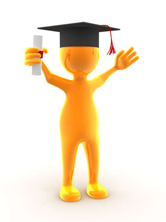 graduacion caricatura: Un nuevo personaje se gradu�. La imagen generada digitalmente.  Foto de archivo