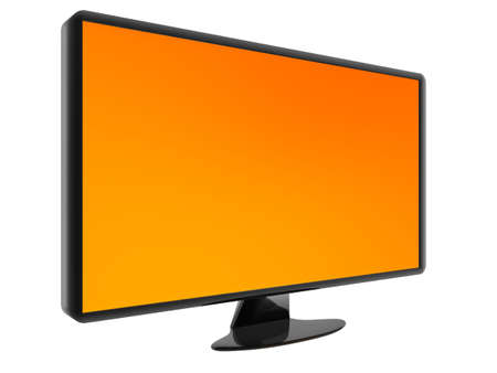 hdtv: HDTV isolated on white background. Orange background can be easily replaced