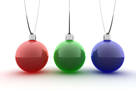 Red green and blue Christmas ornaments photo