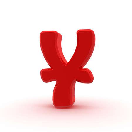yen sign: Red yen sign Stock Photo
