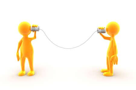 Dos caracteres comunicarse utilizando estaño teléfono. Foto de archivo