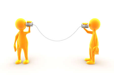 Two characters communicating using tin phone. Stock Photo