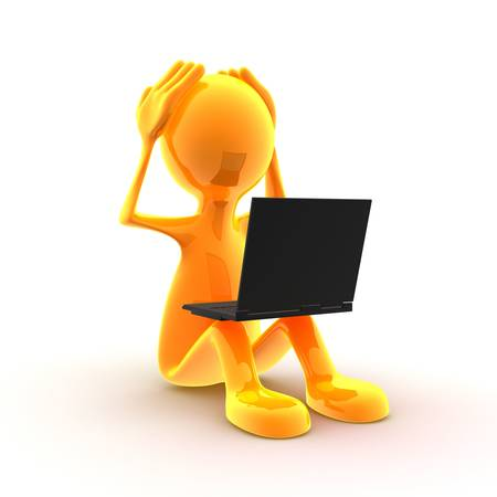 Character is having problems with his computer. Stock Photo