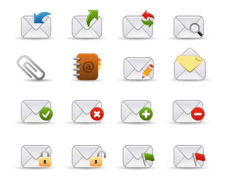 Smooth series: a collection of colorful web icons for your web page! Mail related icons. Vector