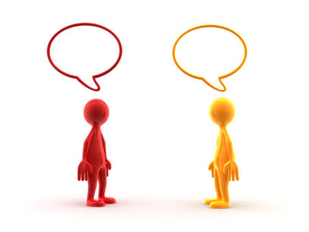 two people talking: Dos personajes con burbujas de discurso por encima de sus cabezas.