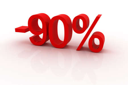 Red sign showing a 90 percent discount. Stock Photo - 6169129