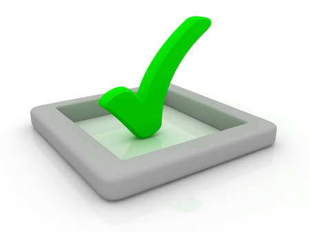 affirmative: Green checkmark symbol on a reflective white plane. Can be used for various concepts like: job done, finishing, selection, voting,...