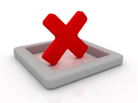 canceled: Red cancel symbol on a reflective white plane. Can be used for various concepts like: failure, voting, canceled, negative