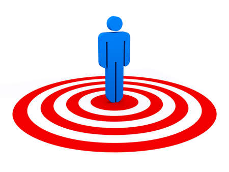 chosen: Blue stick man is standing in a bulls eye. Concept of selection, choice, supremacy,...