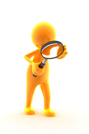 Character is holding a magnifying glass and looking through it. Stock Photo
