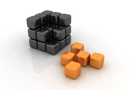 Orange and black cubes. Concept image representing broken structure, individuality, separation