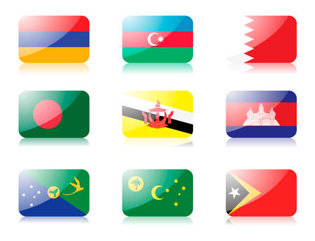 bangladesh: flags. Set one of flags from Asia. 1st row: Armenia, Azerbaijan, Bahrain 2nd row:  Bangladesh, Brunei, Cambodia 3rd row: Christmas Island, Cocos (Keeling Islands), East Timor