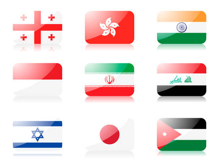 japanese flag: flags. Set two of flags from Asia. 1st row: Georgia, Hong Kong, India 2nd row:  Indonesia, Iran, Iraq 3rd row: Israel, Japan, Jordan Illustration