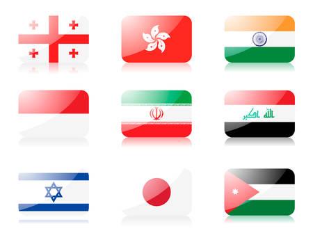 jordanian: vlaggen. Instellen twee van vlaggen van Azië 1e rij: Georgia, Hong Kong, India 2de rij: Indonesië, Iran, Irak 3de rij: Israël, Japan, Jordanië