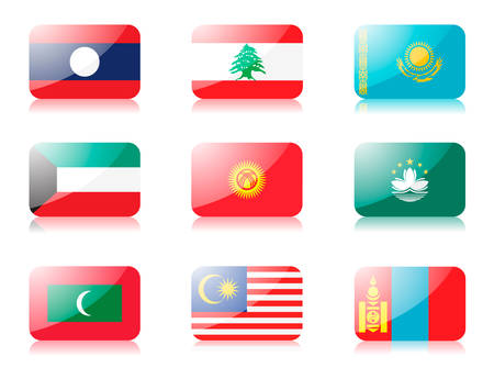 flags. Set three of flags from Asia. 1st row: Laos, Lebanon, Kazakhstan 2nd row: Kuwait, Kyrgyzstan, Macau 3rd row: Maldives, Malaysia, Mongolia Vector