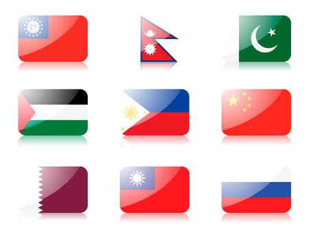 reps: banderas. Establecer cuatro de banderas de Asia. primera fila: Myanmar, Nepal, Pakist�n segunda fila: Palestina, Filipinas, representante del pueblo de China 3� fila: Qatar, Rep�blica de China, Rusia