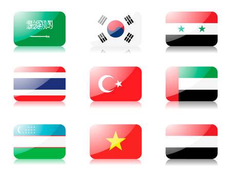 oezbekistan: vlaggen. Set van vijf vlaggen uit Azië. 1st rij: Saoedi-Arabië, Zuid-Korea, Syrië 2de rij: Thailand, Turkije, Verenigd Konink rijk 3e toer: Oezbekistan, Vietnam, Jemen