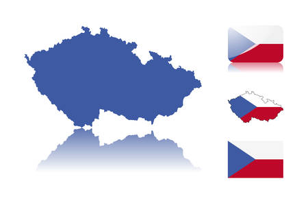 Czech  map including: map with reflection, map in flag colors, glossy and normal flag of Czech republic.. Vector