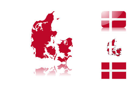Danish  map including: map with reflection, map in flag colors, glossy and normal flag of Denmark. Stock Vector - 6350694