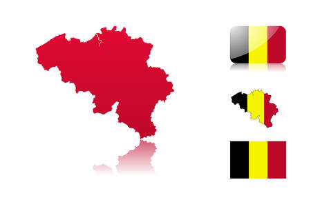 Belgian map including: map with reflection, map in flag colors, glossy and normal flag of Belgium. Vector