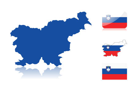 slovenian: Slovene map including: map with reflection, map in flag colors, glossy and normal flag of Slovenia.
