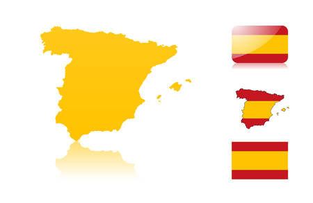 Spanish map including: map with reflection, map in flag colors, glossy and normal flag of Spain. Vector