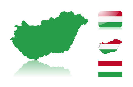 Hungarian map including: map with reflection, map in flag colors, glossy and normal flag of Hungary. Vector