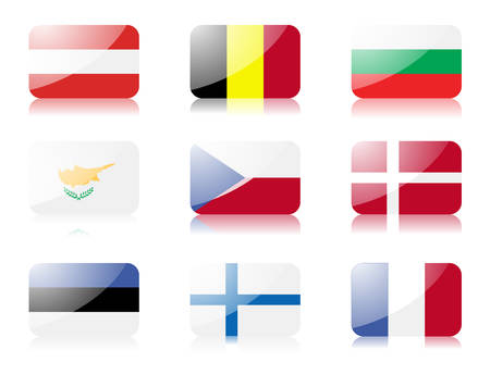 danish flag: flags. Set one of flags from European union. Illustration