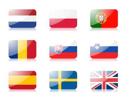 bandera de portugal: banderas. Conjunto de tres de las banderas de la Uni�n Europea.