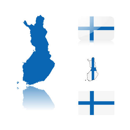 Finish map including: map with reflection, map in flag colors, glossy and normal flag of Finland.