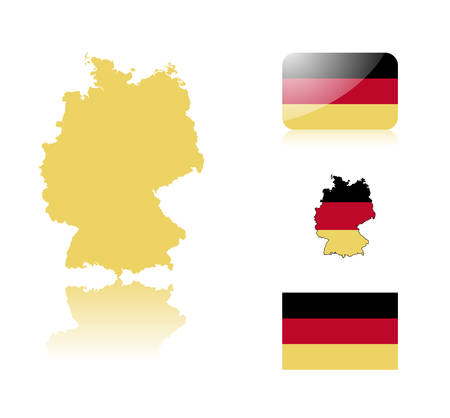 German  map including: map with reflection, map in flag colors, glossy and normal flag of Germany. Stock Vector - 6350704