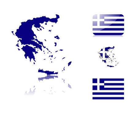 Greek  map including: map with reflection, map in flag colors, glossy and normal flag of Greece.