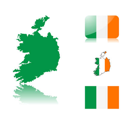 Irish  map including: map with reflection, map in flag colors, glossy and normal flag of Ireland. Stock Vector - 6350705