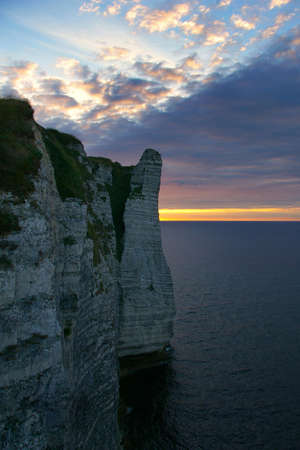 Famous cliffs of Etretat at sunset, Normandy, France. Stock Photo - 6350706