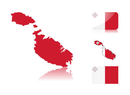 maltese map: Maltese  map including: map with reflection, map in flag colors, glossy and normal flag of Malta.