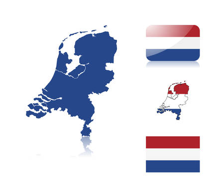 Dutch  map including: map with reflection, map in flag colors, glossy and normal flag of the Netherlands. Vector