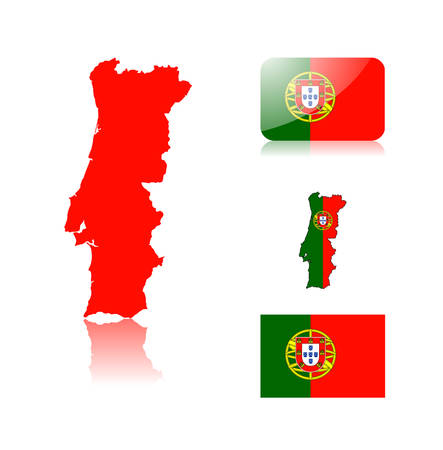 Portuguese map including: map with reflection, map in flag colors, glossy and normal flag of Portugal. Vector