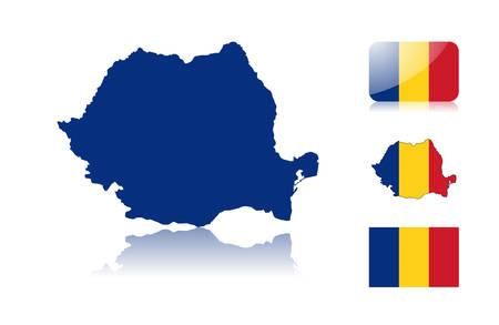 Met inbegrip van Roemeense kaart: kaart met reflectie, kaart in vlag kleuren, glanzend en normale vlag van Roemenië. Vector Illustratie