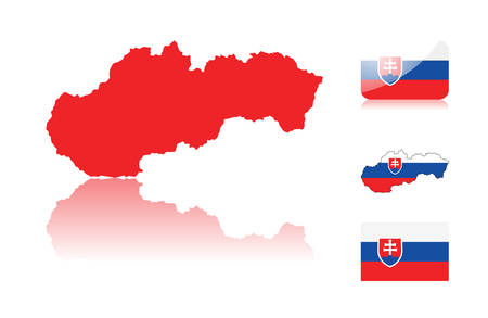 Slovakian map including: map with reflection, map in flag colors, glossy and normal flag of Slovakia. Vector