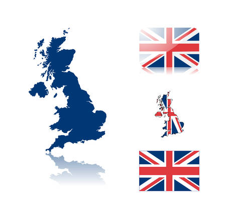 British map including: map with reflection, map in flag colors, glossy and normal flag of United kingdom. Vector