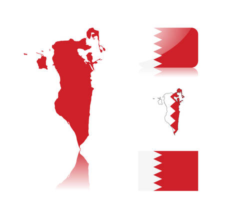 Bahrain map including: map with reflection, map in flag colors, glossy and normal flag of Bahrain. Vector