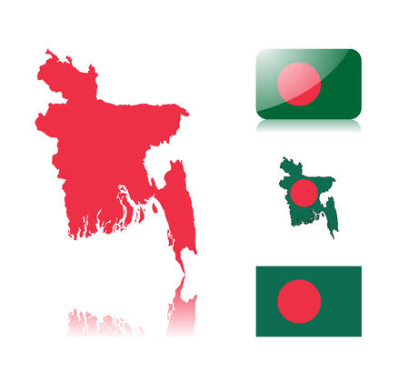 Bangladesh map including: map with reflection, map in flag colors, glossy and normal flag of Bangladesh. Stock Vector - 6391890