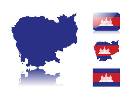 cambodia: Cambodian map including: map with reflection, map in flag colors, glossy and normal flag of Cambodia.